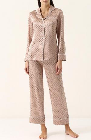 Шелковая пижама с принтом Olivia Von Halle. Цвет: бежевый