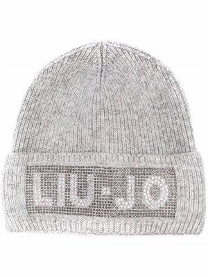 Фактурная шапка бини с логотипом и стразами LIU JO. Цвет: серый
