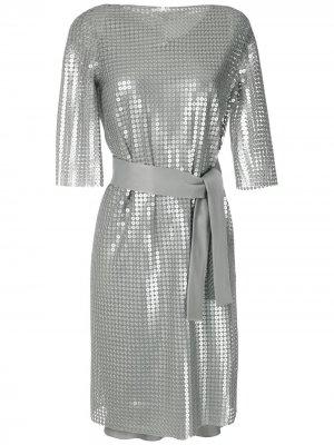 Платье с поясом и пайетками Gloria Coelho. Цвет: серебристый