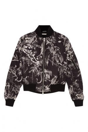 Черная куртка-бомбер с контрастным принтом Alexander McQueen. Цвет: черный