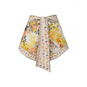 Льняные шорты Camilla. Цвет: жёлтый