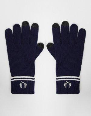 Темно-синие перчатки для сенсорных экранов из 100% мериносовой шерсти -Темно-синий Fred Perry