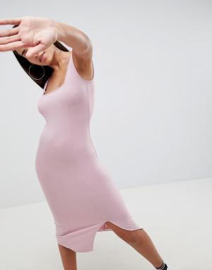 Облегающее платье миди с квадратным вырезом ASOS DESIGN