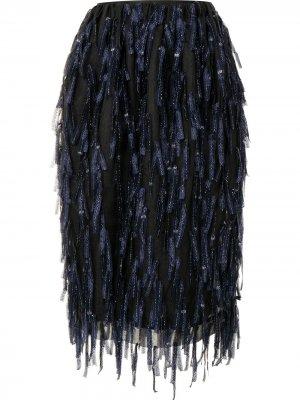 Юбка с завышенной талией и бахромой Dries Van Noten Pre-Owned. Цвет: черный
