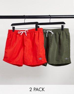 Набор из двух шорт для плавания зеленого и красного цвета -Зеленый цвет River Island