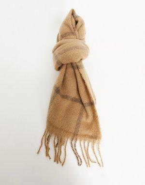 Бежевый шарф-одеяло в клетку -Коричневый цвет ASOS DESIGN