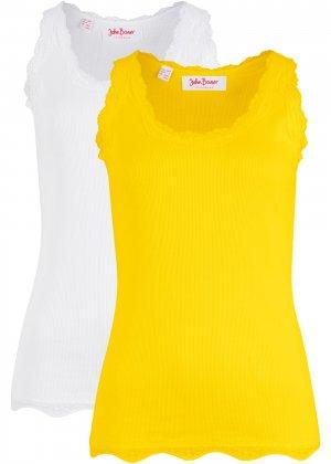 Трикотажная майка-лапша (2 штуки в упаковке) bonprix. Цвет: желтый