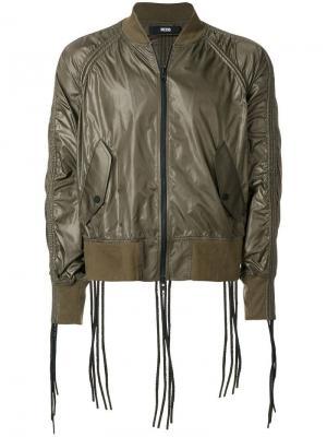 Куртка-бомбер с декоративными шнурками KTZ. Цвет: зеленый
