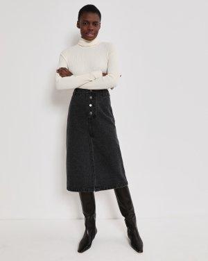 Джинсовая юбка миди на пуговицах 12STOREEZ. Цвет: темно-серый
