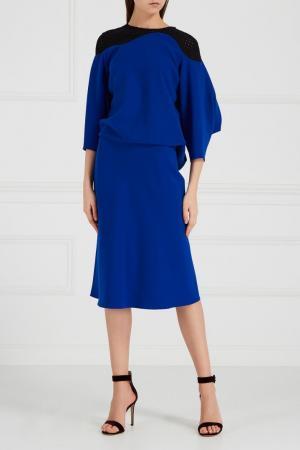Синее платье с контрастной деталью Chapurin. Цвет: синий