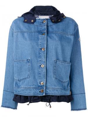 Джинсовая куртка с необработанными краями Moncler. Цвет: синий