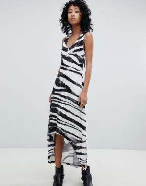 Платье-майка с асимметричным краем и зебровым принтом Religion. Цвет: серый