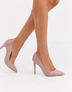 Светло-розовые лакированные туфли-лодочки на каблуке Chloe-Розовый Faith