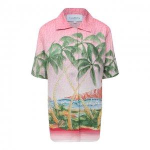 Льняная рубашка Casablanca. Цвет: розовый