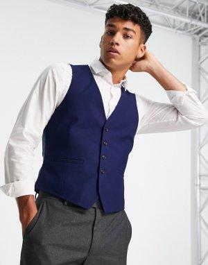 Темно-синий приталенный фактурный жилет Burton Menswear