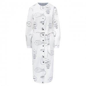 Хлопковое платье Tibi. Цвет: белый