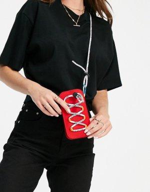 Красная маленькая сумочка с отделкой фирменным шнурком -Красный House of Holland