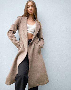 Бежевое пальто с поясом -Серый Abercrombie & Fitch