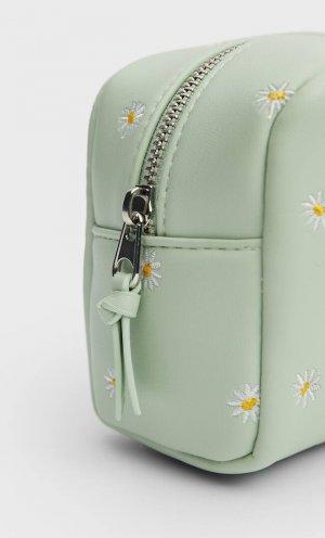 Косметичка С Цветочной Вышивкой Зеленый 103 Stradivarius. Цвет: зеленый
