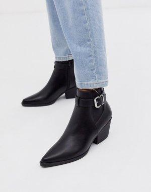 Черные ботинки челси на каблуке с пряжкой -Черный New Look
