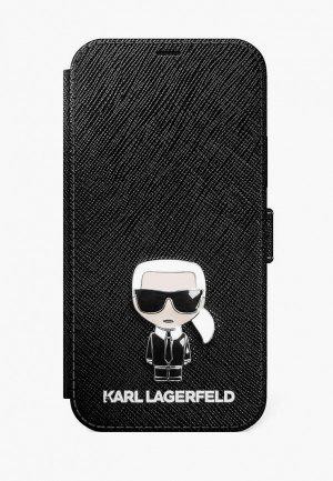 Чехол для iPhone Karl Lagerfeld 12/12 Pro (6.1), PU Saffiano Ikonik (metal) Booktype Black. Цвет: черный
