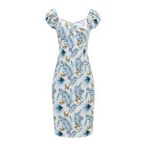 Платье-миди с рисунком и короткими рукавами JOE BROWNS. Цвет: белый наб.рисунок