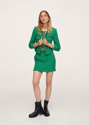 Жакет из твида с карманами - Wintour Mango. Цвет: зеленый