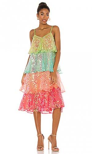 Платье миди arista Sundress. Цвет: green, pink