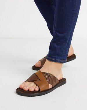 Светло-коричневые кожаные сандалии -Коричневый Base London