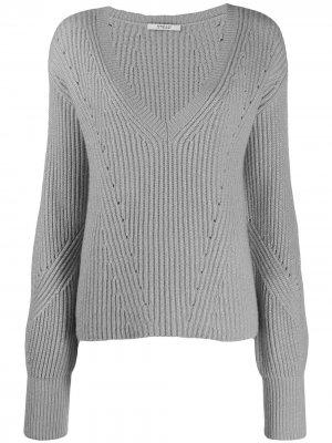 Кашемировый свитер в рубчик с V-образным вырезом и рукавами колокол Derek Lam 10 Crosby. Цвет: синий
