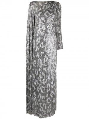 Платье с драпировкой и пайетками Jenny Packham. Цвет: серебристый