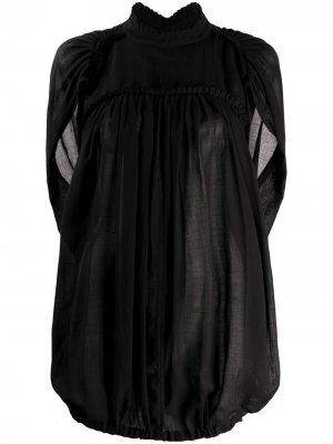Блузка свободного кроя с оборками Ann Demeulemeester. Цвет: черный
