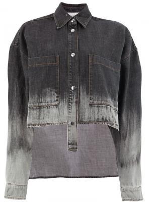 Асимметричная джинсовая куртка с линялым эффектом Faith Connexion. Цвет: черный