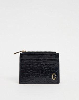 Черный кошелек и кредитница с эффектом крокодиловой кожи буквой ASOS DESIGN