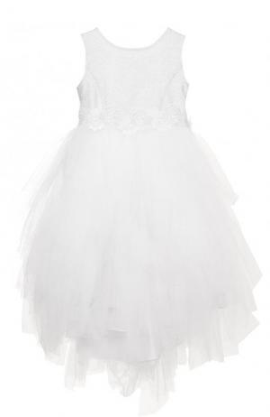 Платье с металлизированной отделкой и многослойной юбкой Aletta. Цвет: белый