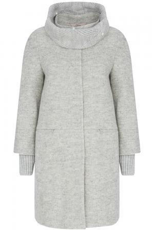 Полушерстяное пальто с отделкой трикотажем Elema