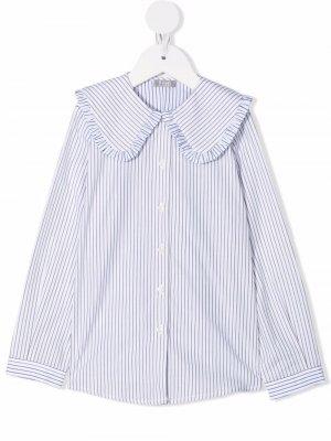 Oversized-collar striped shirt Il Gufo. Цвет: белый