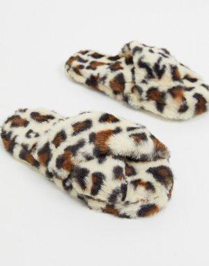Слиперы с леопардовым принтом и перекрестными ремешками -Мульти ASOS DESIGN