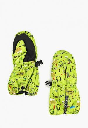 Варежки горнолыжные Quiksilver INDIE KIDS MITT K GLOV. Цвет: зеленый