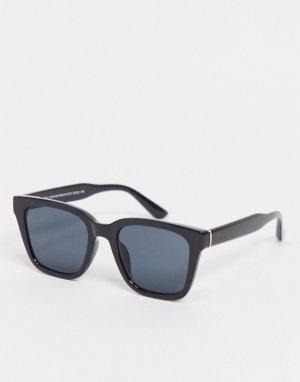 Черные солнцезащитные очки в крупной D-образной оправе -Черный New Look
