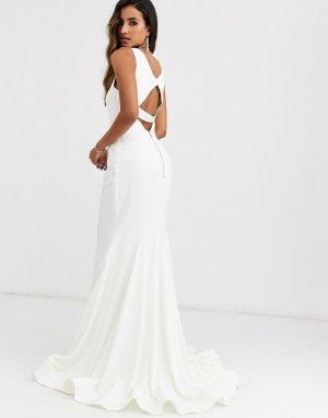 Платье с высоким воротом и годе -Белый Jovani