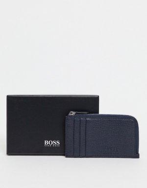 Темно-синий длинный кошелек на молнии BOSS by Hugo
