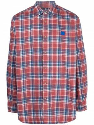 Фланелевая рубашка в клетку Acne Studios. Цвет: красный
