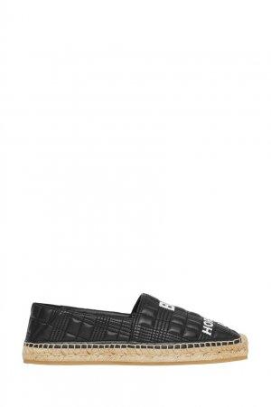 Черные эспадрильи из стеганой кожи Burberry. Цвет: черный