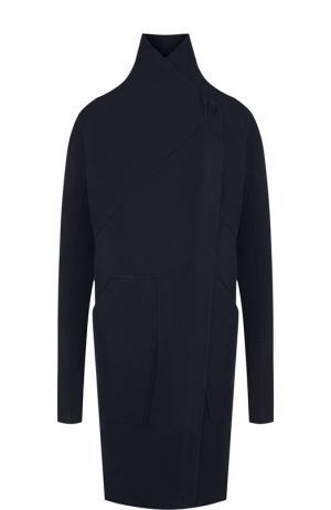 Однотонное хлопковое пальто с воротником-стойкой Roque. Цвет: темно-синий