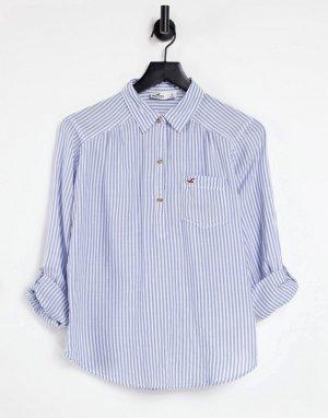Рубашка на пуговицах в синюю полоску -Голубой Hollister