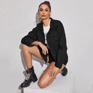 Рваная однотонная джинсовая куртка SHEIN. Цвет: чёрный
