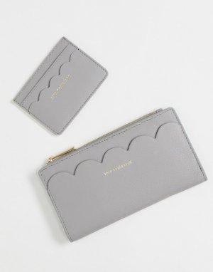 Подарочный набор с кожаным кошельком и кредитницей фигурным краем кремового цвета -Белый Paul Costelloe