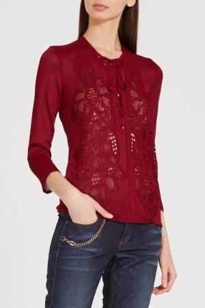 Бордовый пуловер с отделкой Gucci