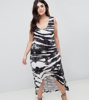 Платье-майка с асимметричным краем и зебровым принтом Religion Plus. Цвет: серый